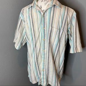 Tasso Elba Stripe Cotton Button Down Shirt Medium